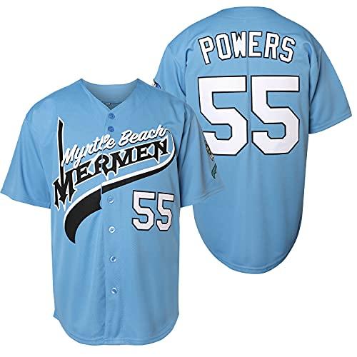 Men 55 Kenny Powers Charros Movie Baseball JerseyStitched (Blue, Small)