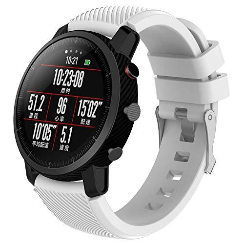 Saisiyiky Banda de reloj de caucho de silicona de reemplazo suave Compatible con Amazfit Stratos HUAMI Smart Watch 2 / 2S Stratos 22mm (Blanco)
