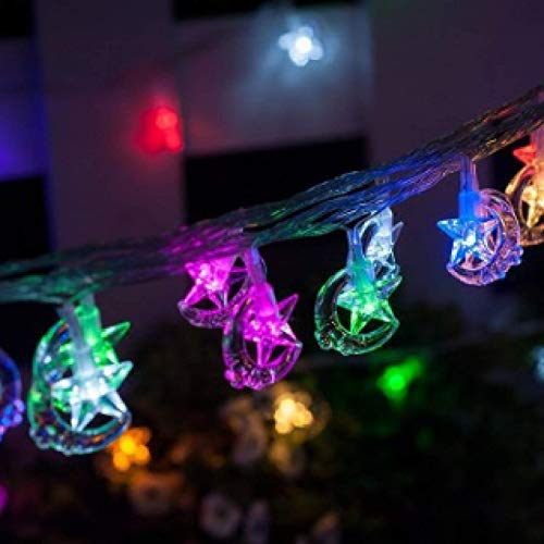 LED Solar Light String Smiley face Star and Moon Light String Stars and Moon Light String Decoration Christmas Lights 5 Meters 20 Lights D