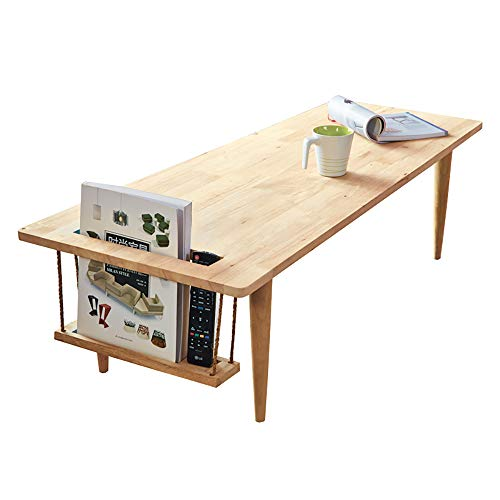 WoodShine Mid Century Modern Coffee Table Japanese Floor Tea Table Trapezoidal Solid Rubber Wood Sofa Tables with Storage Natural 47Inch