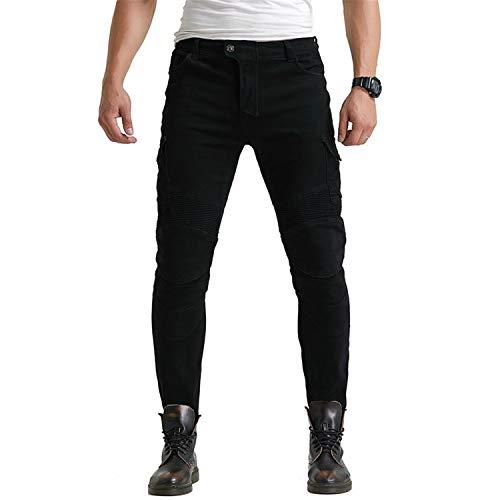 Pantalones vaqueros de moto para hombre, con 4 almohadillas protectoras extraíbles, elásticos anticaídas