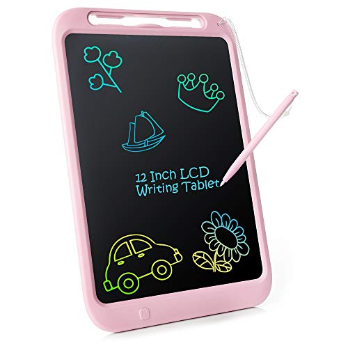 LCD Writing Tablet for Kids, 12' Colorful Doodle Board Drawing Pad Reusable Erasable E-writer With Full Erase Mode, Lock Screen Function, Smart Stylus, Gift for Kids Adults Home School Office (Pink)