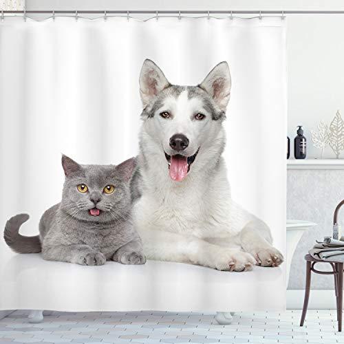 ABAKUHAUS Katze Duschvorhang, Tiere Haustiere H&e Digitale, Moderner Digitaldruck mit 12 Haken auf Stoff Wasser & Bakterie Resistent, 175 x 200 cm, Weiß & Grau