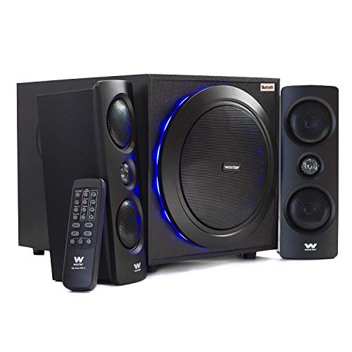 Woxter SO26-057 Big Bass 500 R - Altavoces 2.1 (150W, Bluetooth, Leds, Subwoofer de Madera, Conexión de Auriculares y Jack De 3.5mm para Conectar Dispositivos)