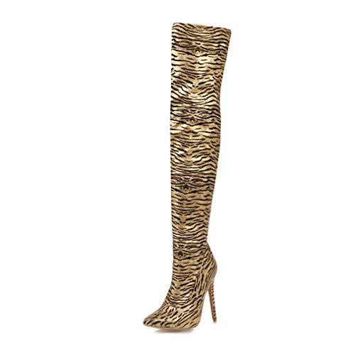 QingMM Damen Wildlederhose, Stiefel, Stiefel, Spitze, Herbst/Winter, hohe Absatz, Kniehenkel, Größe Plus, Leopard Gr. 43 EU, gelb