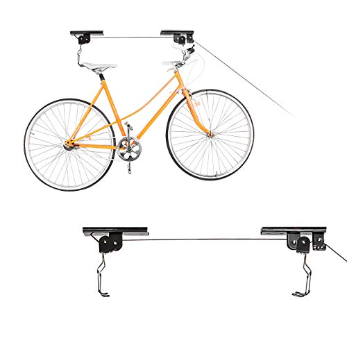 relaxdays 2 x Fahrradlift im Set, mit Seilzug, universal Fahrradhalterung, zur Deckenmontage, für 2 Fahrräder