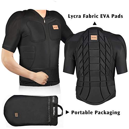 BENKEN Skiing Body Short Protector Schutzausrüstung Pad mit Futter Motor Brust Schulter Rückenschutz verstellbare Jacke Damen Herren Obermaterial Gepolsterte (L)