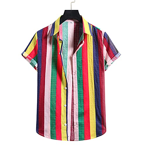 Hemd Herren Sommer Druck Sport Casual Herren Kurzarm Stehkragen Knöpfe Herren Kurzarm Hawaii Hemd Strandshirt Outdoor Reise Urlaub Party Herren Shirt H-008 L