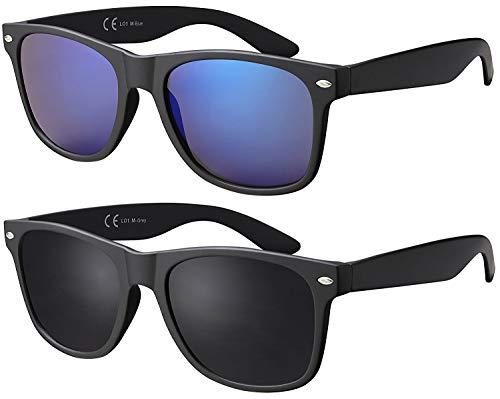 Sonnenbrille La Optica Herren Damen UV400 CAT 3 Retro Sonnenbrillen Set - Doppelpack Matt Schwarz (Gläser: Grau, Blau Verspiegelt)