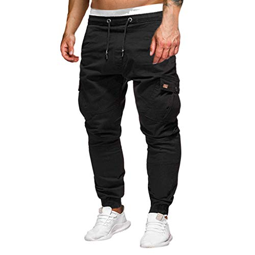 Men's Casual Sweatpants - Fashion Stickers Pocket Tether Elastic Loose Sports Trousers with Drawstring