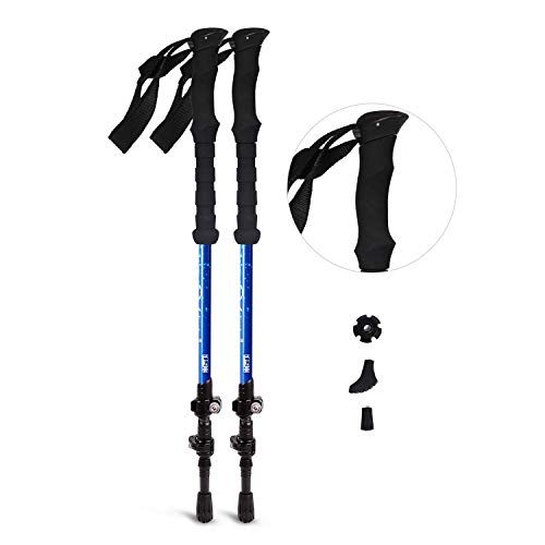 REDCAMP 2 in 1 Carbon Fiber Hiking Pole Collapsible, Ultralight Adjustable Trekking Cane and Walking Stick for Men Women, Blue