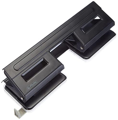 Herlitz - Perforadora de papel (4 perforaciones, con guía ajustable), color negro