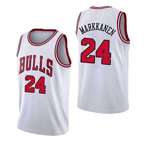 USSU 2020 Jersey de Baloncesto Mǎrkkǎněn BǔRL 24# Camisetas para Hombres sin Mangas Chaleco Deportivo Sudadera Desgaste Casual Uniforme, Fox Fit, Jersey Fiesta Regalo de White-XS