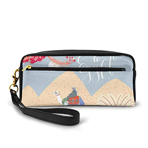 Pencil Case Pen Bag Pouch Stationary,Abstract Sweet Colorful Cartoon with Ethnic Camels Welcome to Egypt,Small Makeup Bag Coin Purse