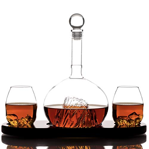 Whiskey Crystal Glass Decanter Sets for Alcohol by Kemstood – Unusual Mountain Decanter for Men and Women – Personalized Set with 2 Glasses and Wood Base for Wine, Liquor, Scotch, Bourbon, Brandy