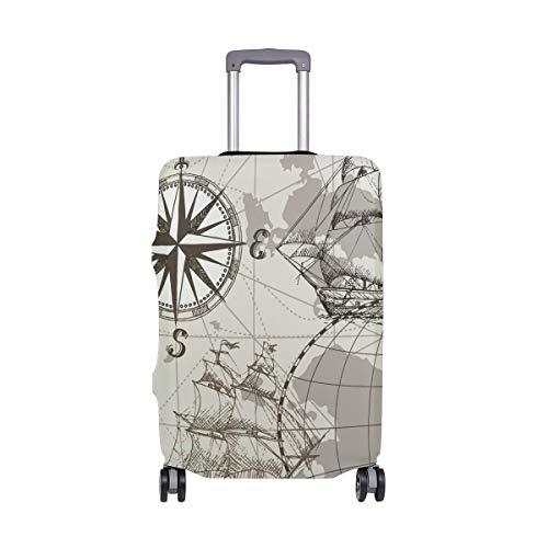ALINLO - Brújula de Mapa del Mundo Antiguo náutico para Equipaje, Maleta de Viaje, Protector para 18 – 32 Pulgadas