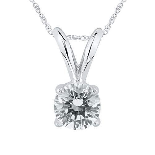 AGS Certified 1/2 Carat Round Diamond Solitaire Pendant in 14K White Gold