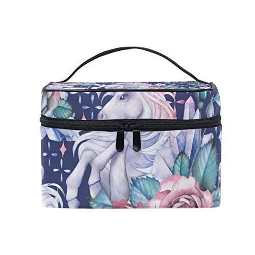 Unicorns and Roses Vignettes Travel Make-up Case Kosmetiktasche for Girl Women, Large Capacity and AdjustableSchminktaschen Travel Waterproof Kulturbeutel Accessories Organizer