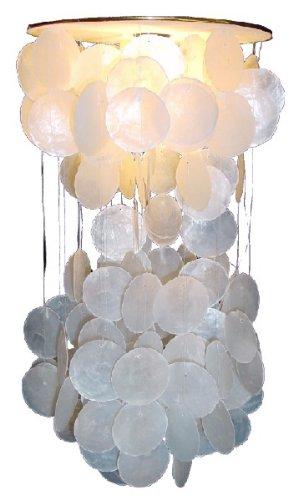 Guru-Shop Deckenlampe/Deckenleuchte Shells-40, Muschelleuchte aus Hunderten Capiz, Perlmutt-Plättchen, Weiß, Muschelscheiben, Farbe: Weiß, 40x24x24 cm, Oceanlights Muschelleuchten