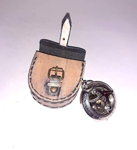 Sonnenuhr-Kompass mit Schaumball, 45 mm Durchmesser, große Messing-Sonnenuhr-Kompass, funktionierende Antik-Reproduktion – Schreibtisch für Männer, nautisch