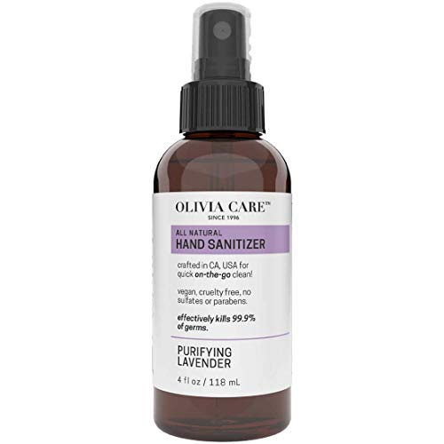 Olivia Care Hand Sanitizer Alcohol Based with Lavender Essential Oils - Antibacterial, Antiseptic, 99.9% Effective Germ-Killing, Moisturizing. Remove Bacteria, Impurities, Dirt. Disinfectant - 4 FL OZ