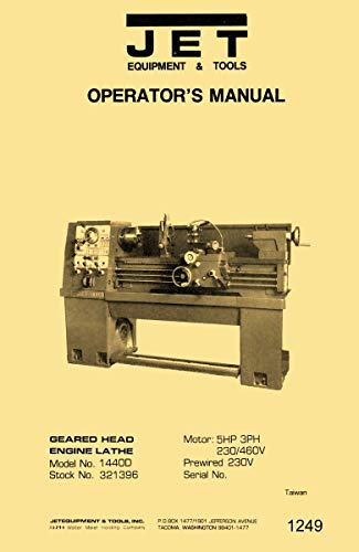 Read About JET 14x40 Metal Lathe Model 1440D Dashin Studturn Instructions Operator's & Parts Manual