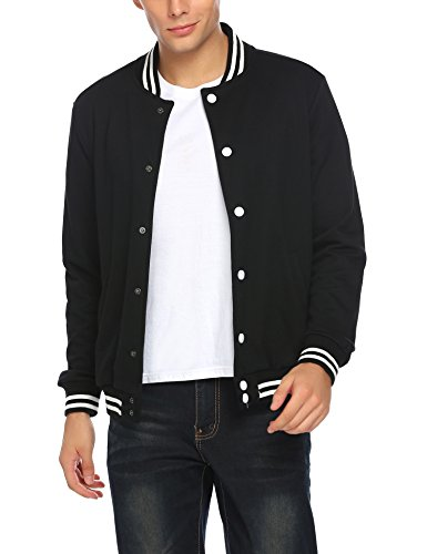 Coofandy Men Fashion Long Sleeve Button Front Cotton Bomber Baseball Jacket, Pitch-Black, Large