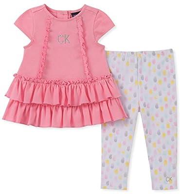 Calvin Klein Baby Girls 2 Pieces Legging Set, Pink/Print, 3-6 Months