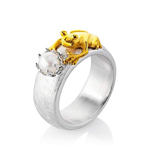 Drachenfels Damen Ring aus der Kollektion Froschkönig   teilgoldplattiert mit einer Süßwasser Zuchtperle   Designerschmuck veredelt & goldplattiert
