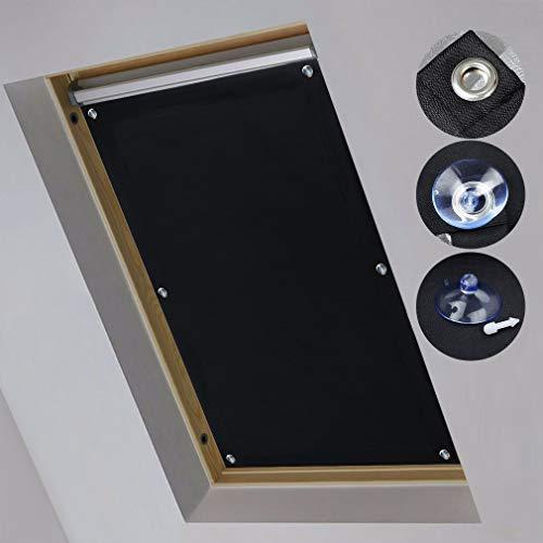 iKINLO 57 * 100cm Dachfensterrollo ohne Bohren Verdunklungsrollo Dachrollo für Velux Dachfenster Sonnenschutz mit Saugnäpfe Schwarz