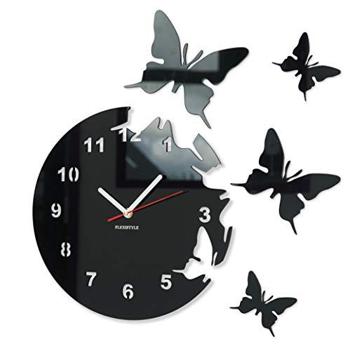 FLEXISTYLE Große Moderne Wanduhr Schmetterling Schwarz rund 30cm, 3D DIY, Wohnzimmer, Schlafzimmer, Kinderzimmer