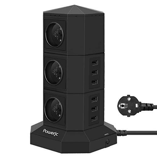 Powerjc Steckdosenleiste Mehrfachsteckdose 6 Fach Steckdose mit 6 USB Mehrfachstecker Steckerleiste,6-ft Verlängerungskabel Verlängerungssteckdose Überspannungsschutz