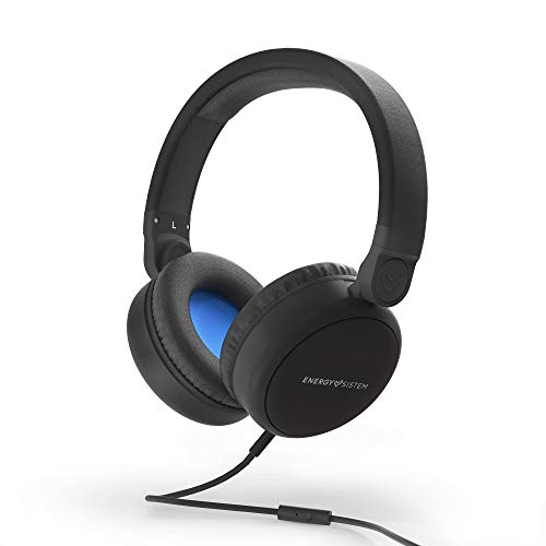 Energy Sistem Headphones Style 1 Talk Midnight Black (Over-Ear, 180º Foldable, Detachable Cable Audio-In), 185 x 205 x 85 mm