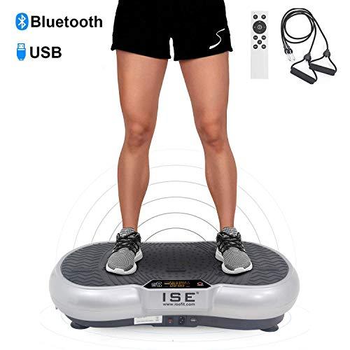 ISE Fitness Vibrationsplatte mit Bluetooth-Lautsprecher,USB,99 Geschwindigkeitsstufen 6 Programme, Silber(SY-328-BS)