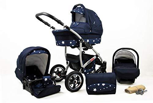 Passeggino Trio 3in1 2in1 Isofix Ovetto Compatto New L-Go by SaintBaby Navy Blue Star 4in1 con Ovetto + Isofix