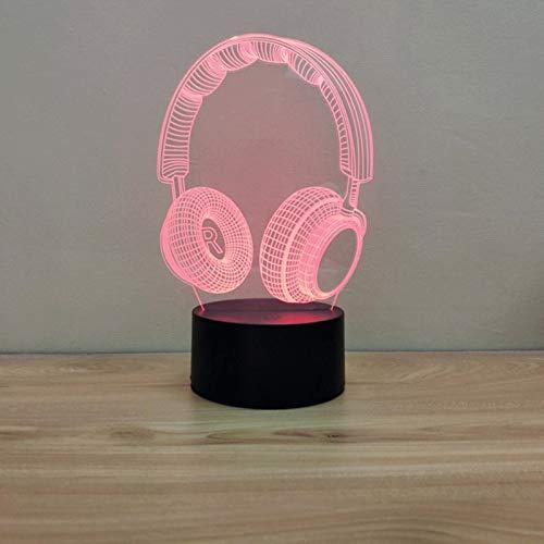 ZBHW Auricular Forma Decoración Luz 3D Lámpara Niños Noche Luz Luz LED Touch Sensor Colorido Dormitorio Control Remoto Nightlight Dropship