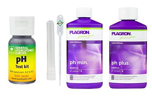GHE pH-Wert-Messgerät Kit mit 500 Tests + 500 ml Plagron Ph-Plus + 500 ml Plagron Ph-Minus - pH Teststreifen Pool Wassertester Test pH-Streifen pH-Tester Pool