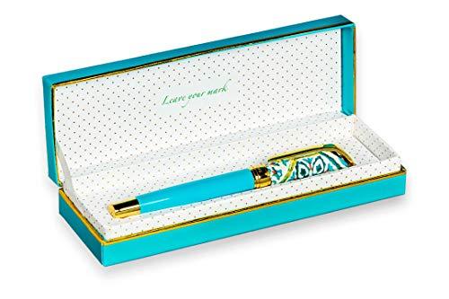 FILOU Bolígrafo roller recargable regalo para mujer | empaquetado con caja de regalo a juego | detalles dorados con grabados | tinta azul | acabado premium | satisfacción garantizada| Modelo Turqueta