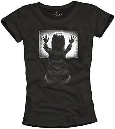 MAKAYA Poltergeist - Camiseta Negra para Mujer