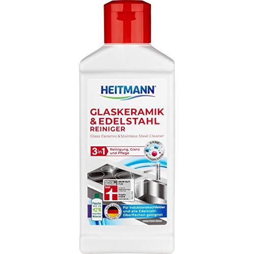Heitmann Glaskeramik Edelstahl Reiniger, Intensivreiniger für Kochfelder, Edelstahl, Chrom, Messing, 250ml