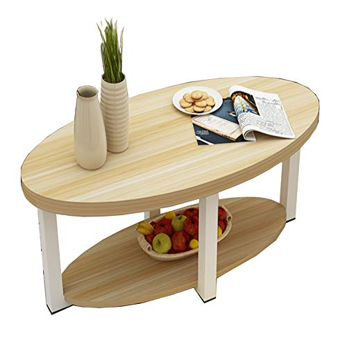 Zaixi Table Basse, Table d'appoint, Style Industriel avec étagère de Rangement en métal, pour Salon Table en Bois Massif Vintage à Deux étages Forte capacité portante (Couleur : B)