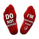 HMILYDYK Chaussettes avec inscription « Do Not Disturb I'm Watching Rugby » en coton doux antidérapant Rouge