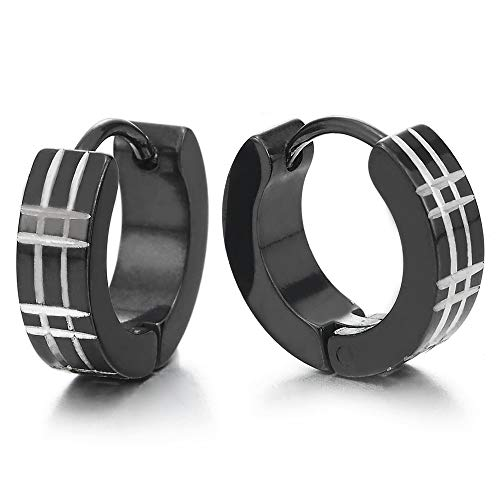 Paar Silber Schwarz Creolen für Herren Damen, Edelstahl Huggie Ohr Manschette Ohrringe mit Laser-Muster