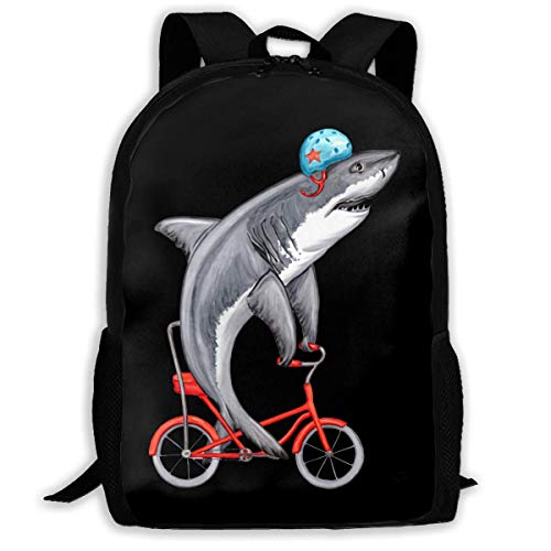 TRFashion Sac à Dos Funny Shark on Bike Fashion Outdoor Shoulders Bag Durable Travel Camping for Kids Backpacks