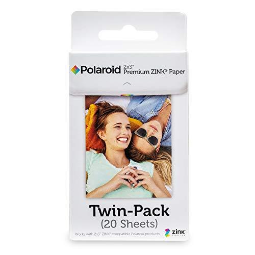 Polaroid Premium Zink Papel Fotografico (Paquete de 20 Hojas) Compatible con Polaroid Snap, Snap Touch, Mint, Z2300, la Impresora móvil Polaroid Zip y Mint, 5 x 7.6 cm