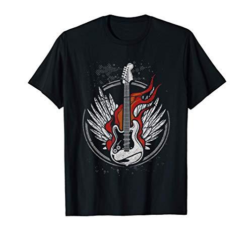 Guitarra Vintage Eléctrica Música Fuego Rocker Guitarrista Camiseta