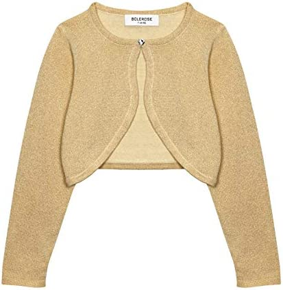 Bolerose Girls Long Sleeve Sparkle Cardigan Childrens Kids Bolero Shrug Gold 9 10 YRS product image