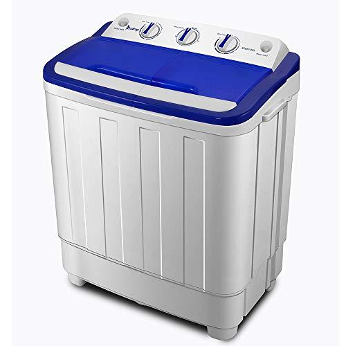 Portable Washing Machine US Standard White & Blue, Semi-automatic Twin Tube,16Lbs