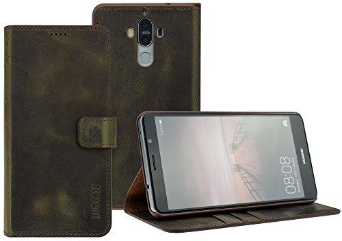 Suncase Book-Style Tasche kompatibel mit Huawei Mate 9 Ledertasche Leder Schutzhülle Hülle Hülle (mit Standfunktion & Kartenfach) antik braun
