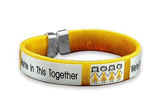 Childhood Cancer Awareness Gold Ribbon Together Open Bangle Bracelet